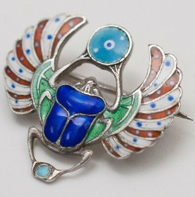 Vtg Antique Egyptian Revival 800 Silver Enamel Scarab Evil Eye Brooch Pin