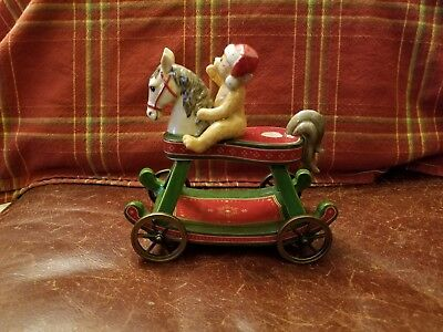 Villeroy & Boch Teddy Bear On Pull Horse Christmas Candleholder Excellent