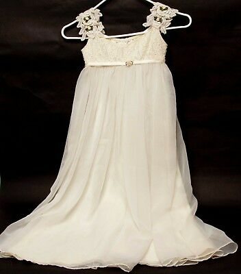 aa9bb293a531 IVORY TULLE GOWN Satin Sash Bridesmaid Flower Girl Dress 12-18M 2 4 ...