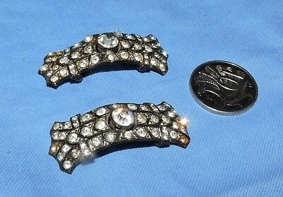 antique shoe buckles ? rhinestone pair. think these are shoe buckles see phot