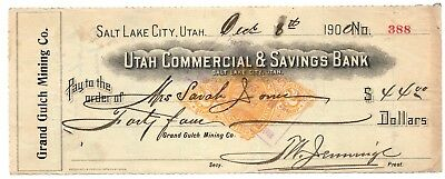 Check- Utah Commercial & Savings Bank- 1900- Grand Gulch Mining Co. Salt Lake