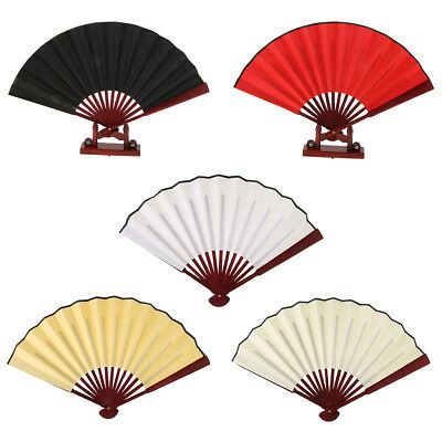 Chinese Silk Fabric Bamboo Folding Hand Held Fans Portable Fans Dance Party