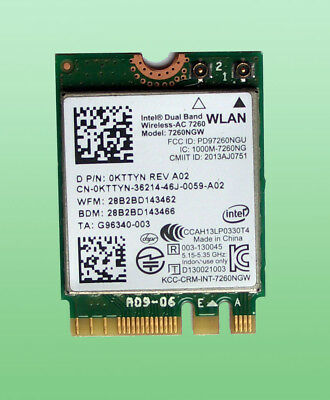 Intel Dual Band Wireless- AC7260 Model 7260NGW  867Mbps Bluetooth4.0 M.2  0KTTYN