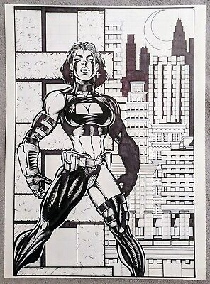 Razor original comic art, full pin-up page 11x15.25 London Night Studios