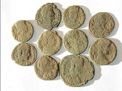 10 ANCIENT ROMAN COINS AE3 - Uncleaned and As Found! - Unique Lot 01111