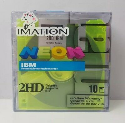 """10 x 3.5"""" 2HD Imitation Floppy Disks Color Neon - NEW SEALED"""