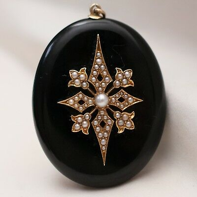 Antique Victorian Mourning Gold Onyx Seed Split Pearl Locket Pendant