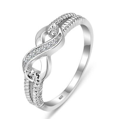 Women Zircon Infinity Wedding 925 Silver Ring Best Gift Crystal Rings Size 5-11
