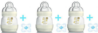 3 x MAM Anti-Colic Baby Bottles + Soother 130ml Easy Start Self Sterilising