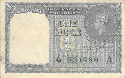 GOVERNMENT OF BRITISH INDIA 1 RUPEE NOTE 1940 P-25d GEORGE VI (NO HOLES)