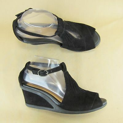 d1c17854e131 EARTH CAPER BLACK Suede Wedge Sandal Peep Toe Ankle Strap Heel ...