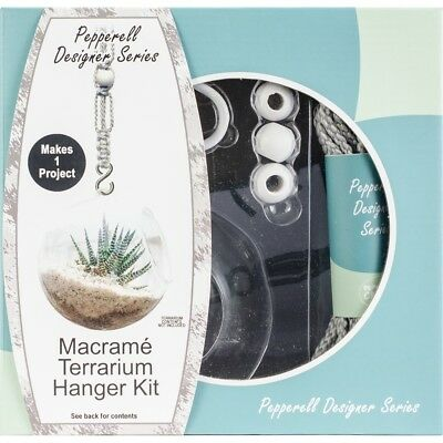 Pepperell Designer Macrame Hanging Terrarium Kit-gray
