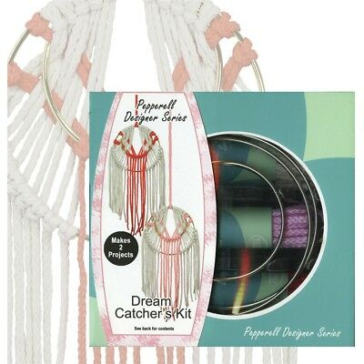 Pepperell Designer Macrame Modern Dream Catchers Kit-coral & Pink