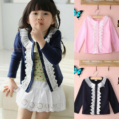Toddler Kids Baby Girls Long Sleeve Lace Coat Outerwear Jacket Tops Clothes US