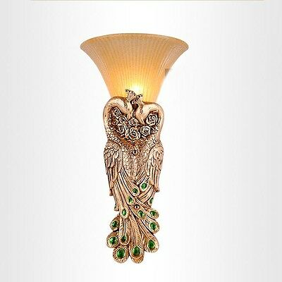 Antique Golden Resin Phoenix Gate Wall Lights Living Room Hotel Wall Sconce Lamp