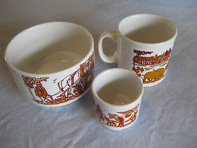 Vintage STAFFORDSHIRE POTTERIES IRONSTONE 3 Piece Baby Toddler Dinnerware Set