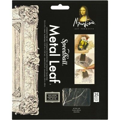 "Mona Lisa Metal Leaf Sheets 5.5""x5.5"" 25/pkg-silver"