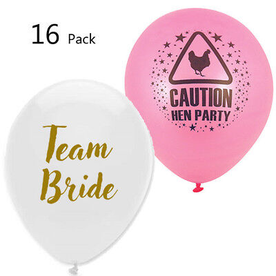 Pack Of 16 Balloons Latex Team Bride Hen Party Decoration Night Do Bride To Be