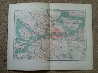 1878 Map of Stockholm and Environs Sweden Antique
