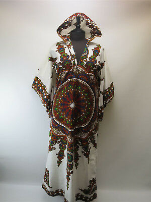 Vintage Dashiki Hooded Ethnic Kaftan Tunic Dress - African - Hippy UK 12-14
