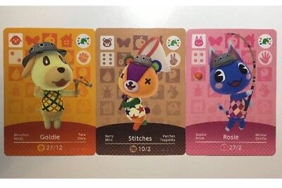 Animal Crossing Amiibo Cards x3 Goldie Stitches And Rosie Promo Rare Wii U 3ds