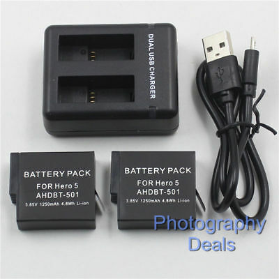 For GoPro Hero 7 5 6 Black AHDBT-501 AABAT-001 Battery 2 Battery+ 1 Dual Charger