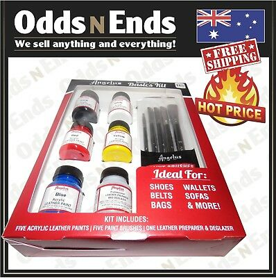 ANGELUS BASIC LEATHER PAINT KIT SET ideal for wallets, shoes, belts, bags, sofas
