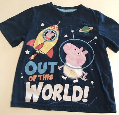 Peppa Pig Girls T Shirt Size 4T Space Theme Out Of This World Blue Girls Or Boys