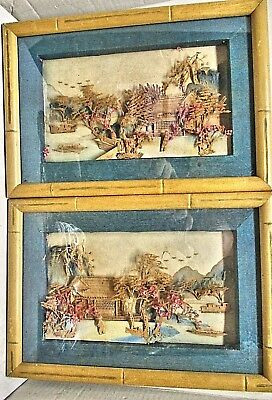 Antique Japanese Shadow Box Cork Pictures Framed W/bamboo Like Wood Under Glass