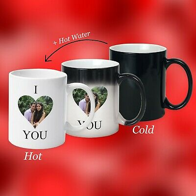 Valentine Day Gift, personalised magic mug, with Secret message of I Love You