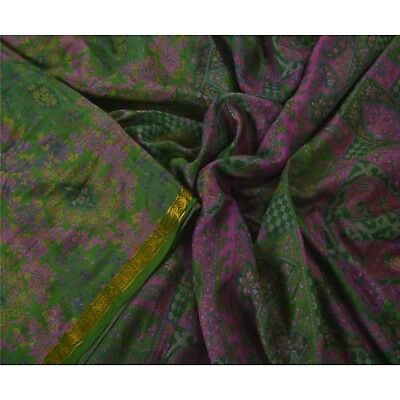 Sanskriti Vintage Green Saree Pure Silk Printed Zari Border Sari Craft Fabric