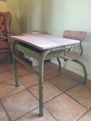 School Desk, French Vintage Industrial 1950's Antique