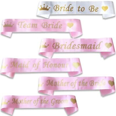 *Pink With Gold* Team Bride Hen Night Party Do Sash Ribbon Wedding Girls Night