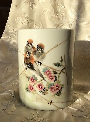 Chinese 20th C Porcelain Brush Pot Hand Painted Birds Calligraphy