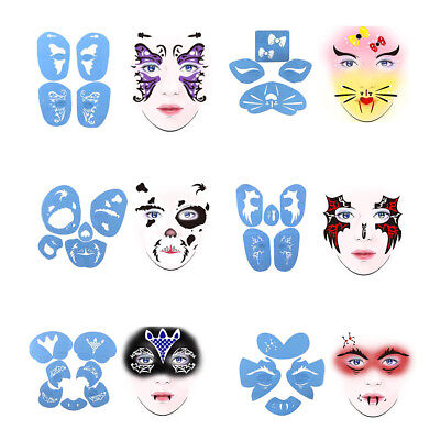6 Sets Reusable Face Painting Stencil Body Art Party Stage Make Up Template