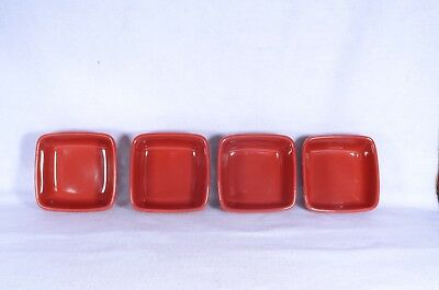 4 Longaberger Woven Traditions Bowls LOT of 4 Tomato Red Soft Square Bowls MINTY