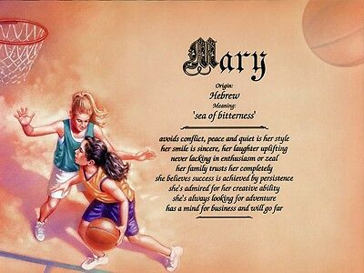 """Girls Womens """"Basketball"""" Name Meaning Print Personalized (Sports)"""