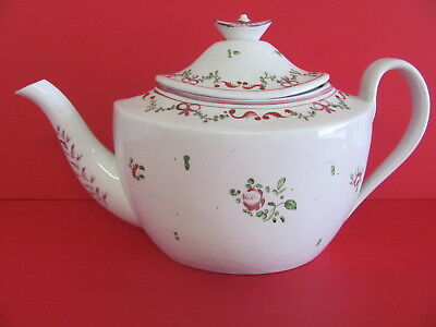Antique English Tea Pot Hand Painted c1820 as is
