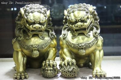 Chinese Brass Copper Feng shui Animal Fu Foo Dog Guardian Lion Lions Statue Pair