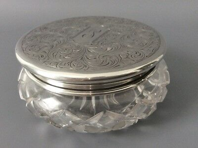Antique Art Nouveau Birks Sterling Silver Dresser Vanity Jar / Jewellery Box