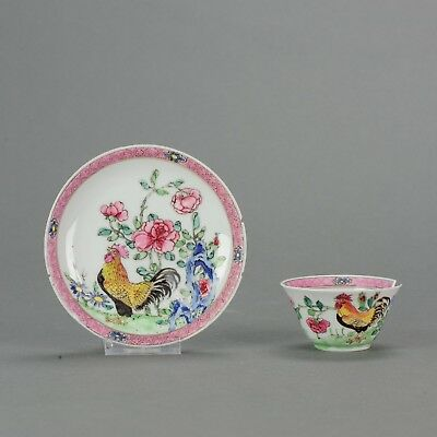 Antique 18C Chinese Porcelain Cup Saucer Roosters Antique Faboulas