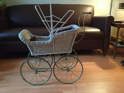 Antique Wicker Baby Carriage Stroller Buggy Pram Vintage White All Original