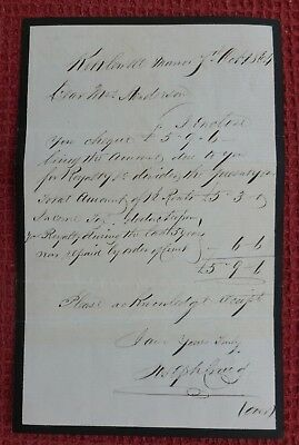 1864, Signed Letter, Kettlewell Manor, Upper Wharfedale, North Yorkshire