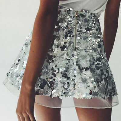 Women Mini Wrap Skirt Sequin Shiny Dress Club Even Party Dance Wear Sexy 8C