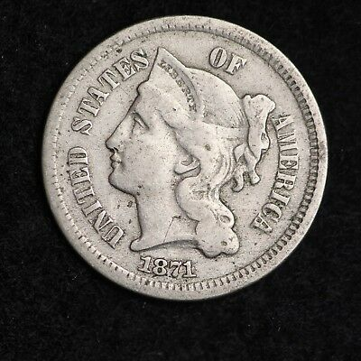 1871 Three Cent Nickel Piece CHOICE FREE SHIPPING E245 CT