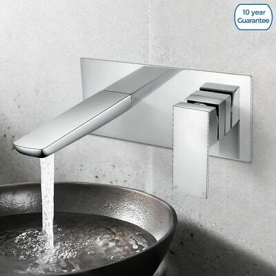 Kenson Bathroom Wall Mounted Basin Sink Mixer Single Lever Modern Chrome Tap