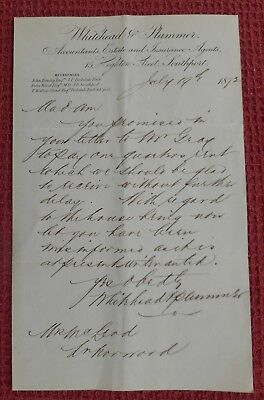 1872, Letterhead, Southport, Whitehead & Plummer (Accountants ) Merseyside