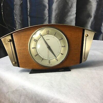 Matamec Clock Vintage Brass & Wood Mantle Art Deco 1950s?  Electric Untested #FR