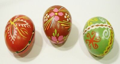 Poland Easter Eggs Flowers Hand Painted Wood Wooden Pysanky Pasanka Vintage