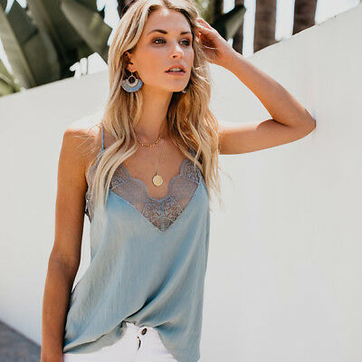 Ladies V Neck Vests Tops Summer Hollow Out Lace Tees Crop Tops Casual Tanks 8C